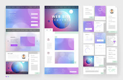 Website template design with interface elements Royalty Free Stock Photos