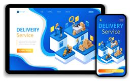 Website template design. Isometric concept Delivery serves. Express delivery, online order, call center vector illustration