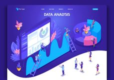 Website template design. Isometric concept for landing page. Data analysis concept with characters. Easy to edit and customize royalty free illustration