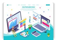 Website template design. Isometric concept Outsourcing. Hiring a remote employee, designer, programmer, copywriter vector illustration