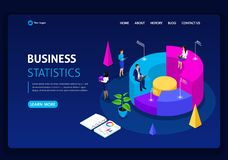 Website template design. Isometric concept work Consulting company for performance, analysis. Statistics and business statement. Easy to edit and customize stock illustration