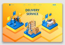 Website template design. Isometric concept working with Delivery service. Express delivery, online order, call center stock illustration