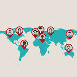 Website template designTeamwork conceptFlat world map with tags, points and destinations with flat faces avatar. Flat world map with tags, points and royalty free illustration