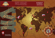 Website template elements, world map. With compass, vintage style Royalty Free Stock Photography