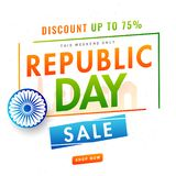 Website template or flyer design with 75% discount offer and Ash. Oka Wheel on white background for Republic Day celebration concept vector illustration
