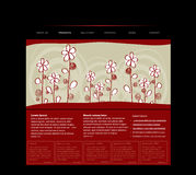 Website template with handdrawn flowers Stock Photo