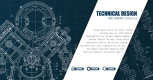 Website template header with technical drawings, Stock Photos