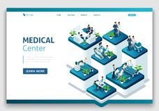 Website Template Landing page Isometric concept of hospital work, maternity ward, work with patients, doctors and surgeons royalty free illustration