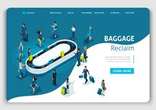 Website Template Landing page Isometric concept International Airport, Baggage reclaim, business trip. Easy to edit and customize vector illustration