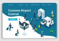 Website Template Landing page Isometric concept International Airport, Customs Airport Control, business trip royalty free illustration