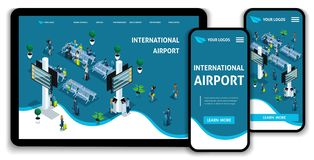 Website Template Landing page Isometric concept International Airport, Passengers in the lounge, business trip. vector illustration