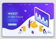 Website Template Landing page Isometric concept investment management, businessmen carry money to invest royalty free illustration