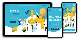 Website Template Landing page Isometric concept Issuance of credit, customer service in bank, Service hall, bank clints. Easy to edit and customize, adaptiive stock illustration
