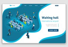 Website Template Landing page Isometric concept Passengers in the Waiting Room, International Airport, business trip royalty free illustration