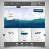Website template with Landscape Illustraion of hills of coniferous wood. Stock Photo