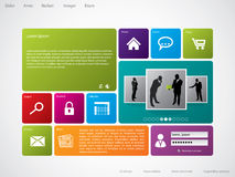 Website template with large icons Royalty Free Stock Image