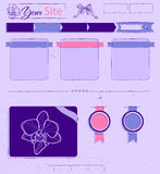 Website template with lilac vintage elements. Royalty Free Stock Photos