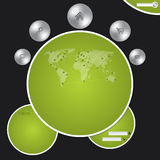 Website template with metallic buttons and world map Stock Image