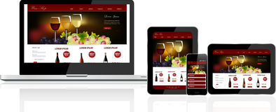 Website template on multiple devices Royalty Free Stock Photos