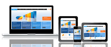 Website template on multiple devices. Responsive website template on multiple devices