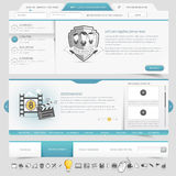 Website template navigation elements with icons set Stock Images