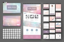Website design template and interface elements. Website template, one page design, headers and interface elements. Bokeh defocused backgrounds Royalty Free Stock Images