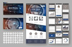 Website design template and interface elements Stock Photos