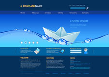 Website template: paper boat in the water Stock Images