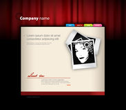Website template with red curtain. Royalty Free Stock Image