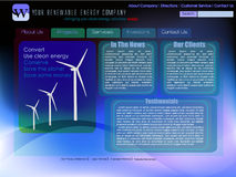 Website template for renewable energy. In blue royalty free illustration