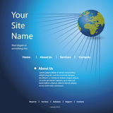 Website Template Vector. Blue website template vector with globe design Stock Images