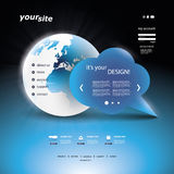 Website Template Vector. Blue website template with Earth globe design in editable vector format Stock Images