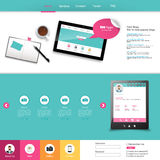Website Template Vector Design with realistic still life illustration, tablet, coffee, notebook. Royalty Free Stock Photos