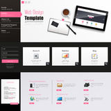 Website Template Vector Design with realistic still life illustration, tablet, coffee, notebook. Royalty Free Stock Image