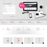 Website Template Vector Design with realistic still life illustration, tablet, coffee, notebook. Stock Photo