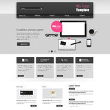 Website Template Vector Design with realistic still life illustration, tablet, coffee, notebook. Royalty Free Stock Images