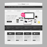 Website Template Vector Design with realistic still life illustration, tablet, coffee, notebook. Stock Photos