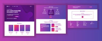 Website Template Vector. Page Business Project. Landing Web Page. Technical Online Support. Design Evolution System royalty free illustration