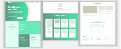 Website Template Vector. Page Business Background. Landing Web Page. Web Design And Development. Cash Contract. Business. Website Template Vector. Page Business royalty free illustration
