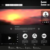 Website template Vector. with photorealistic sunrise, illustration. Royalty Free Stock Photography