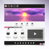 Website template Vector. with photorealistic sunrise, sea illustration. Stock Images