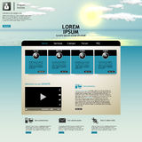 Website template Vector. with photorealistic sunrise, sea illustration. Stock Photos
