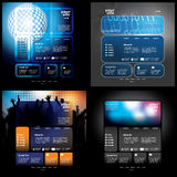 Website Template Vectors. Four dark business website templates with various design elements in editable vector format Royalty Free Stock Photography