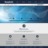 Website Template with World Map and Wavy Lines Pattern Stock Images