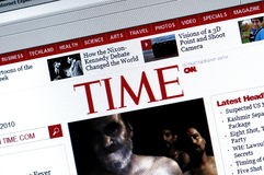 Website of TIME.com. Time magazine was created in 1923 by Briton Hadden and Henry Luce, making it the first weekly news magazine in the United States Royalty Free Stock Photos
