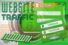 Website traffic. Abstract colorful background with computer keyboard, login design and the text website traffic written with green letters. Website traffic theme Stock Images