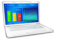 Website traffic analysis on laptop screen. Website traffic reporting data on laptop screen. Dashboard of webmaster in blue design: analytic graphs and charts stock illustration