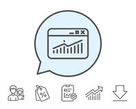 Website Traffic line icon. Report chart sign. Stock Photos
