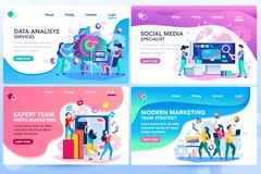 Website Tutorial Menu Research Templates. Analysis management consult. Marketing modern strategy. Menu project navigation on software research. Characters on royalty free illustration