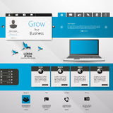 Website UI Elements Gray And Blue, Navigation Bar, Buttons, Slider, Message Box, Menu, Login, Menu, Profile, Comment box, Royalty Free Stock Images